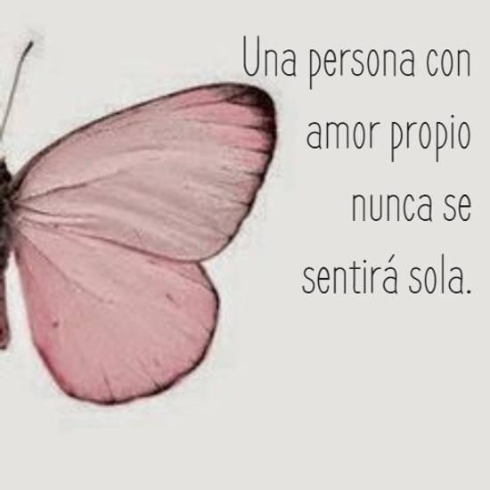 Una persona con  amor propio  nunca se  sentirá sola.