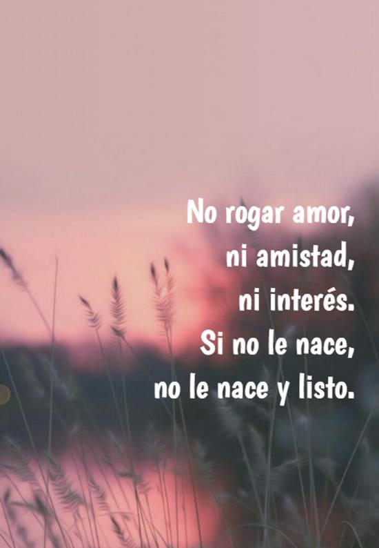 No rogar amor,  ni amistad,  ni interés.  Si no le nace,  no le nace y listo.