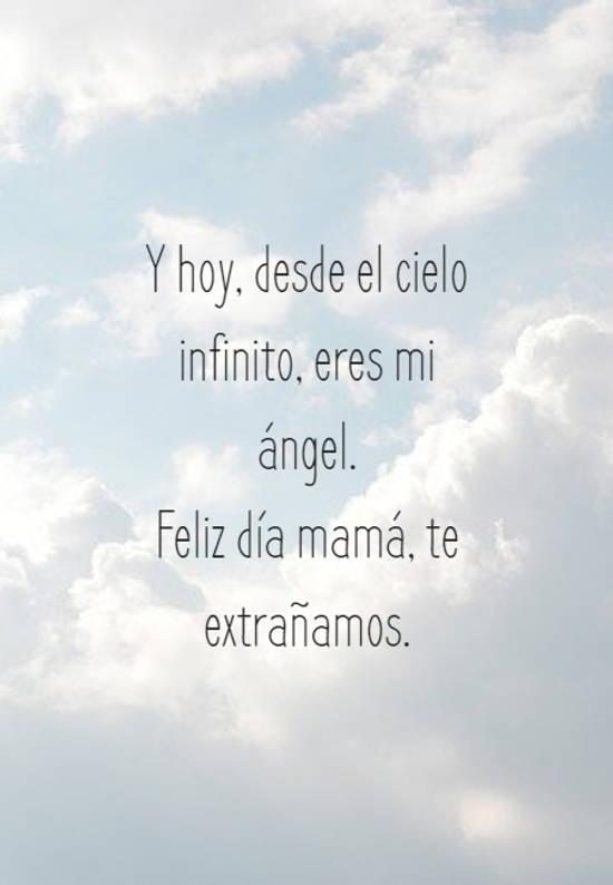 Y hoy, desde el cielo infinito, eres mi ángel.  Feliz día mamá, te extrañamos.