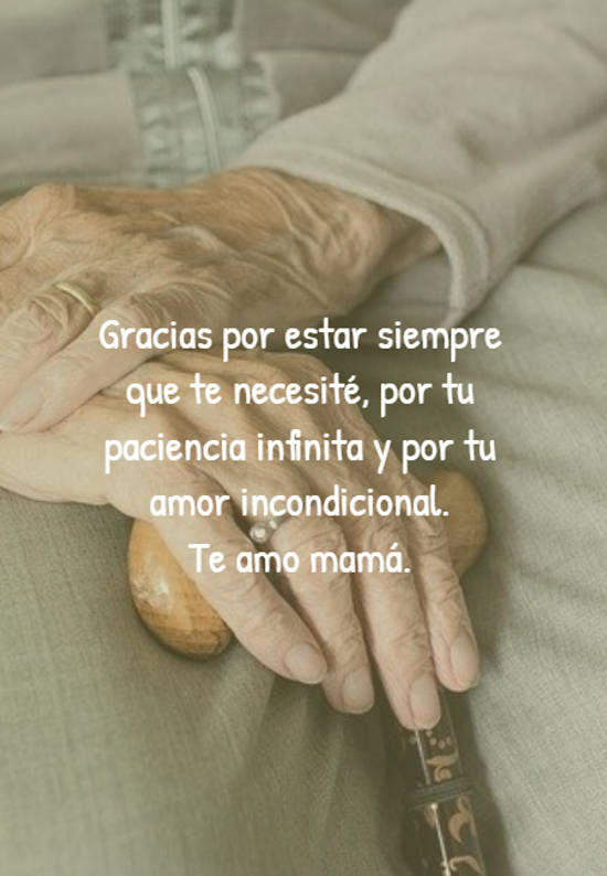 Gracias por estar siempre que te necesité, por tu paciencia infinita y por tu amor incondicional.  Te amo mamá.