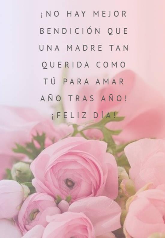 ¡No hay mejor bendición que una madre tan querida como tú para amar año tras año!  ¡Feliz día!