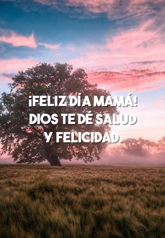 ¡Feliz día mamá! Dios te dé salud y felicidad.