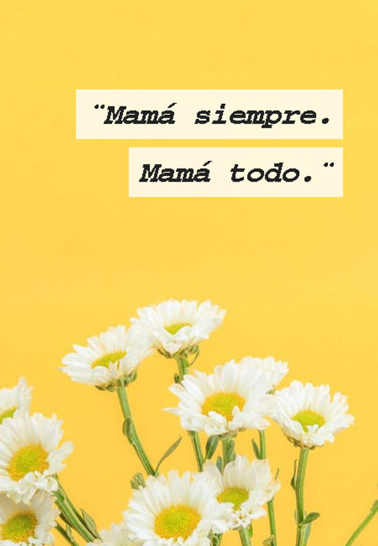 ¨Mamá siempre.   Mamá todo.¨