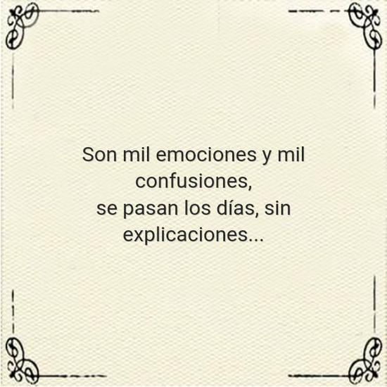 Son mil emociones y mil confusiones, se pasan los días, sin explicaciones...