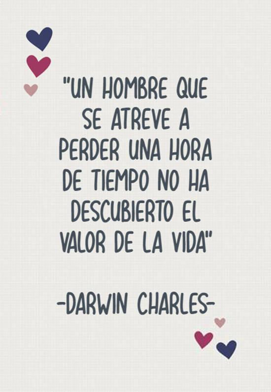 """Imágenes de la frase: """"Un hombre que se atreve a perder una hora de tiempo no ha descubierto el valor de la vida"""" -Darwin  Charles-"""