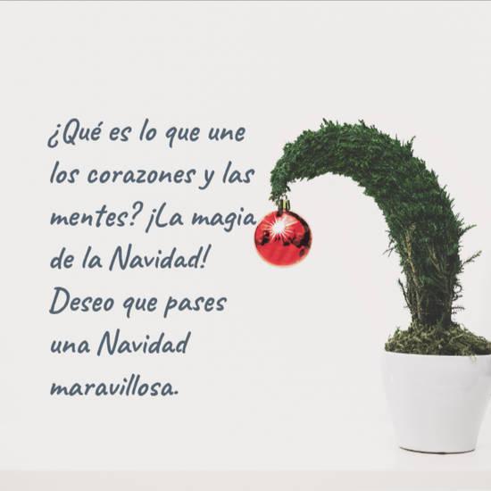 Frases de la Navidad - ¿Qué es lo que une los corazones y las mentes? ¡La magia de la Navidad! Deseo que pases una Navidad maravillosa.