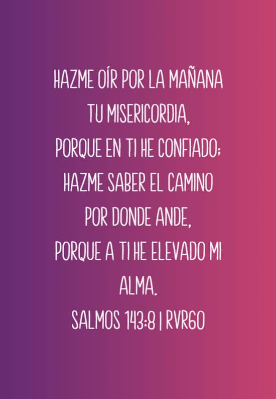 Hazme oír por la mañana tu misericordia, Porque en ti he confiado; Hazme saber el camino por donde ande, Porque a ti he elevado mi alma. Salmos 143:8 | RVR60