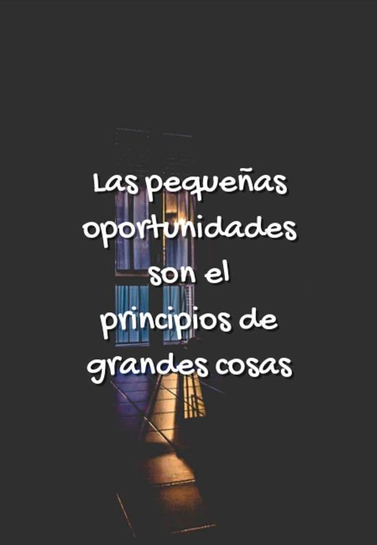 Imágenes de la frase: Las pequeñas oportunidades son el principios de grandes cosas
