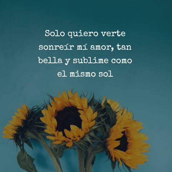 Imágenes de la frase: Solo quiero verte sonreír mí amor, tan bella y sublime como el mismo sol
