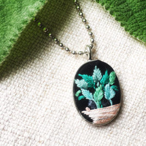Embroidered Plant Necklace