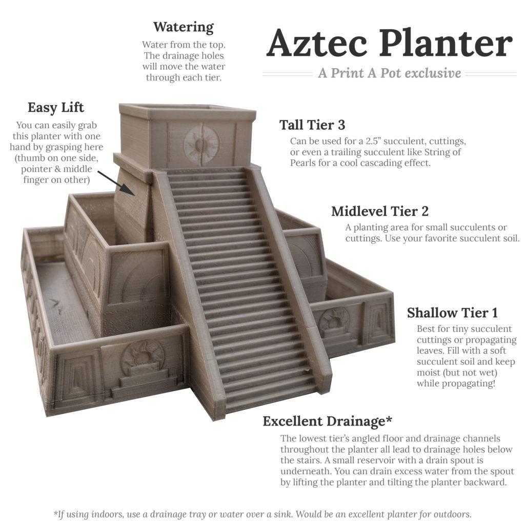 Aztec Succulent Planter Features