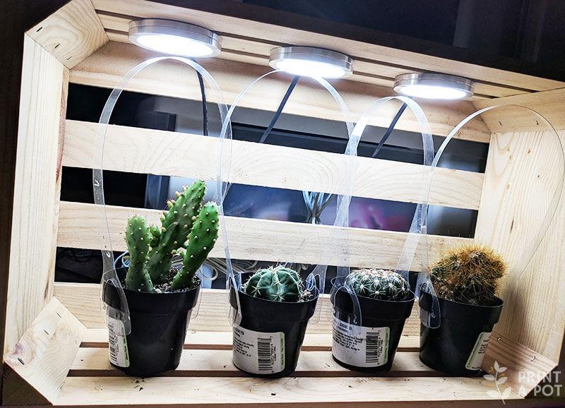 LED light pucks in a grow light box