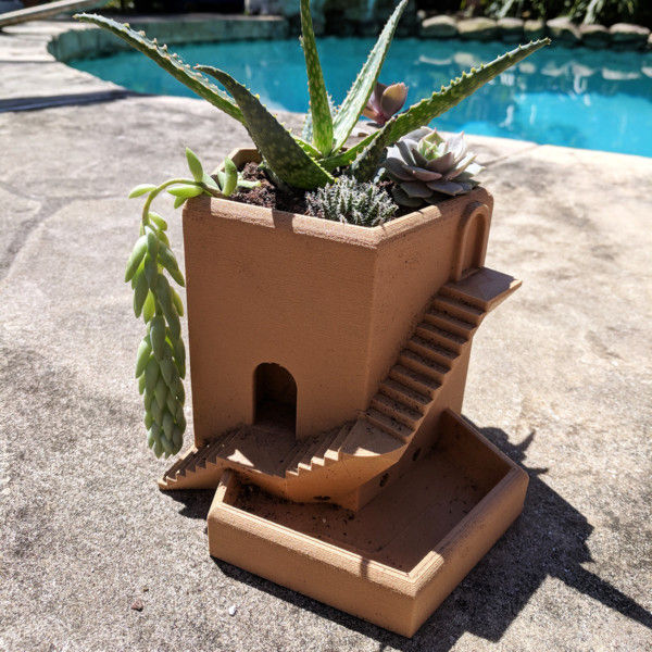 Large Stairs Planter with Integrated Drainage, Geometric Planter, Large Herb Planter, Large Planter Pot, Large Planters for Fairy Garden
