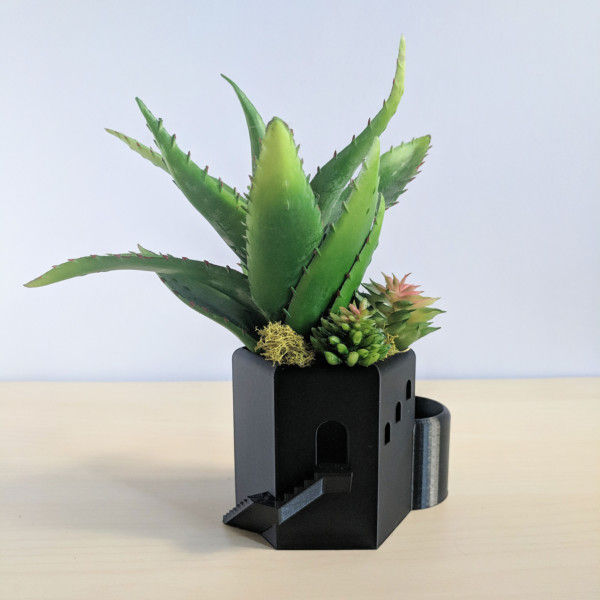 Geometric Tower Planter, 3D Printed Planter, Herb Planter, Succulent Planter, Cactus Planter, Cactus Pot, Desk Pot, Geometric Planter