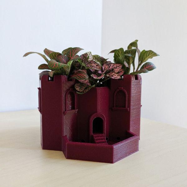 Tri-Tower Castle Planter for Small Succulents, Herb Garden Planter, Cactus Planter for Fairy Garden