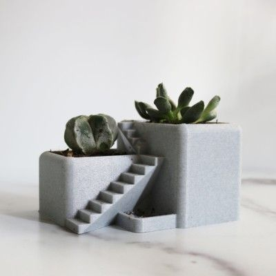 Villa Desk Planter - Succulent Planter 3D Printed, Architectural Pot, Desk Pot, 3D Printed Desktop Planter with Drainage Holes