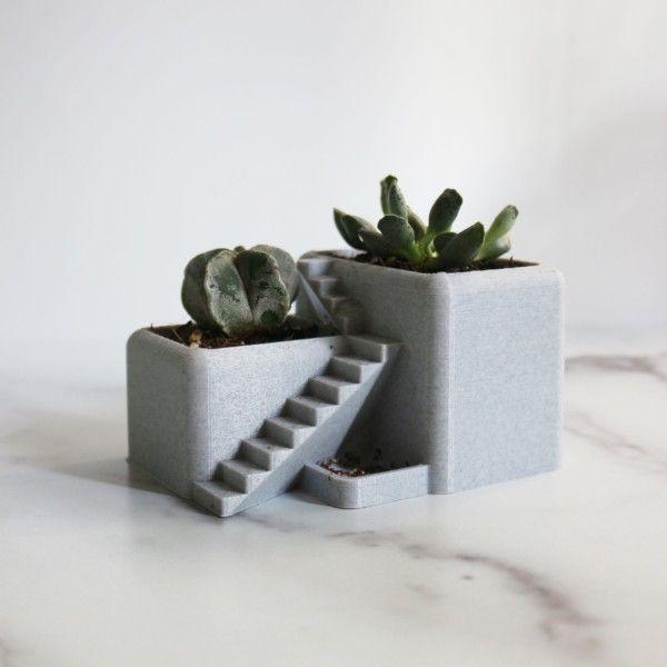Villa Desk Planter - Succulent Planter 3D Printed, Architectural Pot, Desk Pot, 3D Printed Desktop Planter with Drainage Holes