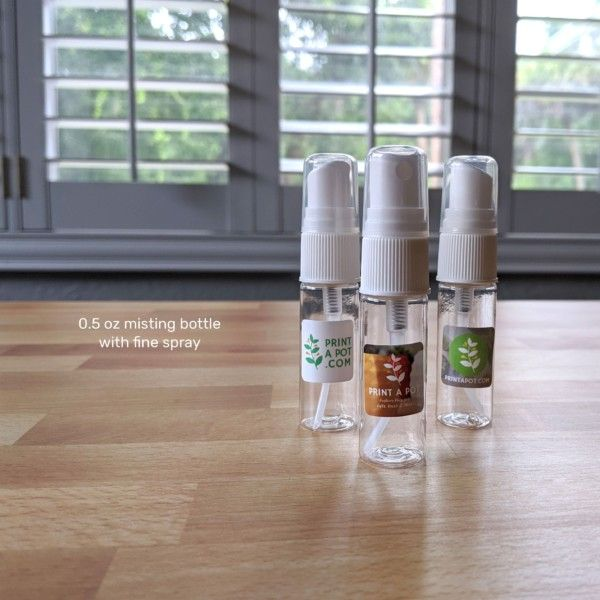 Half-Ounce Misting Bottles for Air Plants, Spritzer with Fine Spray (0.5 oz size) - Print A Pot branding