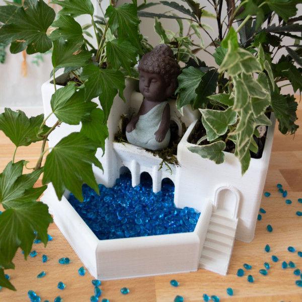 Midsize Roman Terrace Garden Mini Houseplant Planter, Indoor Garden Tiered Pot for Ferns, Fairy Garden Terrarium Planter