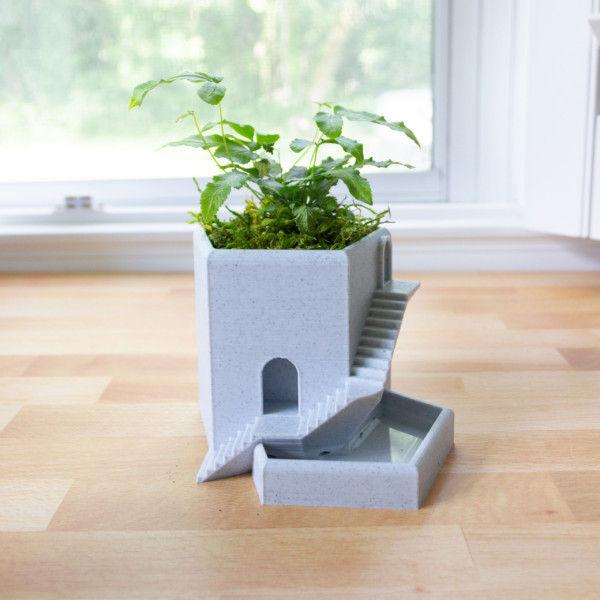 Small Succulent Tower Pot - Castle Tower, Succulent Planter, Building Planter, Architecture Pot, Succulent Pot, Pentatower