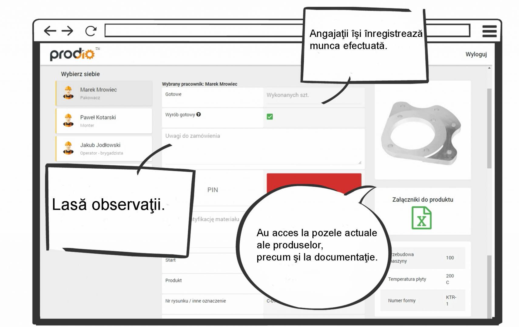 Rejestracja produkcji ( widok hali produkcyjnej ) - MES