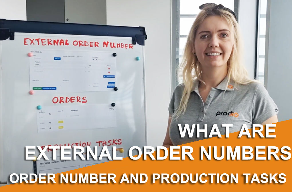 What are external order numbers, orders, and production tasks in Prodio?