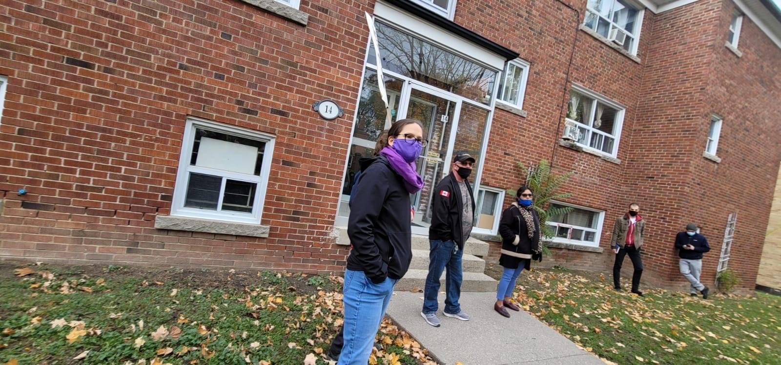 Tenants organize outside of 14 Wadsworth