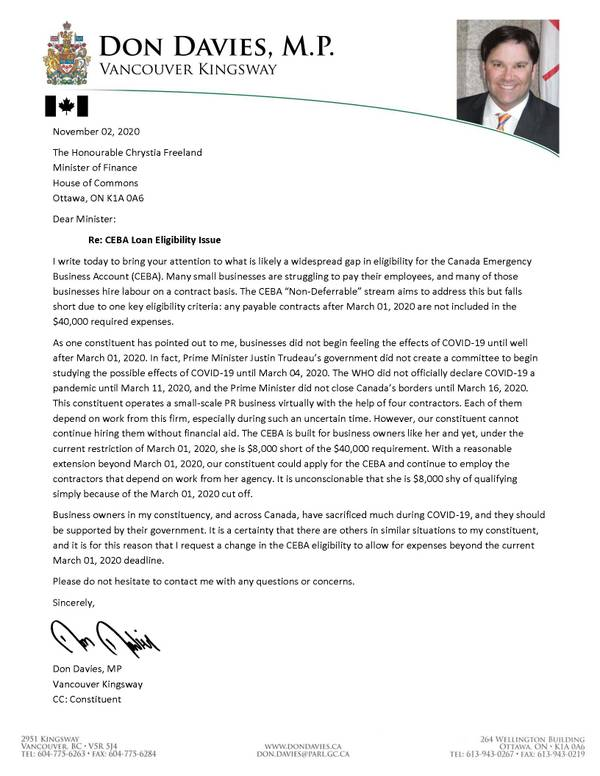 Letter to the Minister Re: CEBA Loan Eligibility Issue