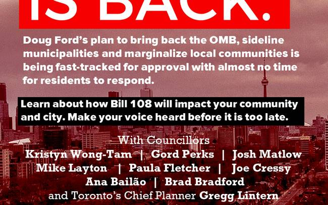 Town Hall on Bill 108: The OMB is Back!