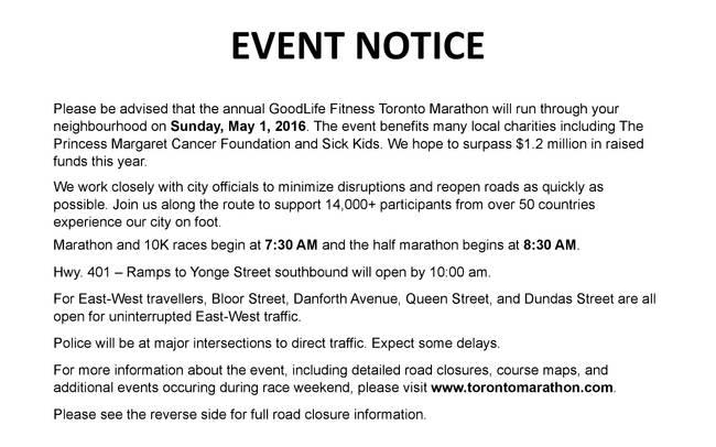 Annual GoodLife Fitness Toronto Marathon