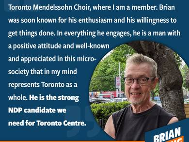 Every year, the Choristers in the Toronto Mendelssohn Choir spend close to 175 hours together rehearsing and performing. This might sound like a lot, but divided into around 60 annual performances, it's not a lot of rehearsal time for the top-quality music we present. Dan and I became friends very early on when I joined the choir and his endorsement means a lot to me as a person who lives in our community and has created beautiful art in it for decades.