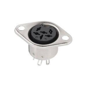 BKL Electronic 0208094 DIN-Rundsteckverbinder Flanschbuchse, Kontakte gerade Polzahl: 6 Silber 1St.