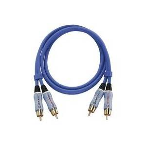 Oehlbach Cinch Audio Anschlusskabel [2x Cinch-Stecker - 2x Cinch-Stecker] 0.50m Blau vergoldete Stec