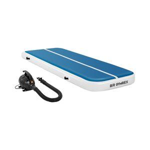 Gymrex Set Aufblasbare Turnmatte - Airtrack inklusive Luftpumpe - 300 x 100 x 20 cm - 150 kg - blau/weiß 18000412