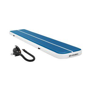 Gymrex Set Aufblasbare Turnmatte - Airtrack inklusive Luftpumpe - 500 x 100 x 20 cm - 250 kg - blau/weiß 18000414