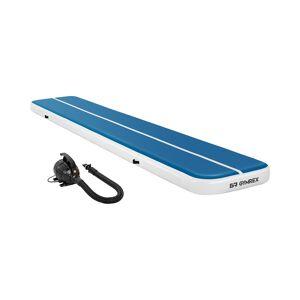 Gymrex Set Aufblasbare Turnmatte - Airtrack inklusive Luftpumpe - 600 x 100 x 20 cm - 300 kg - blau/weiß 18000415