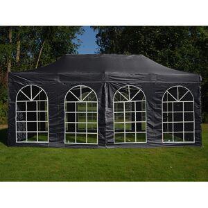 Dancover Faltzelt Faltpavillon Wasserdicht FleXtents Basic v.3, 3x6m Schwarz, mit 4 Seitenwänden
