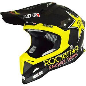Just1 J32 Pro Rockstar Kinder Crosshelm Schwarz Gelb L