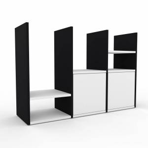 MYCS Wohnwand Schwarz - Individuelle Designer-Regalwand: Türen in Weiß - Hochwertige Materialien - 118 x 80 x 35 cm, Konfigurator