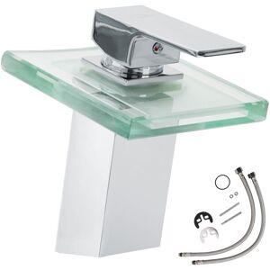 Tectake - Grifo cascada y vidrio con LED (modelo 1) - grifo para baño