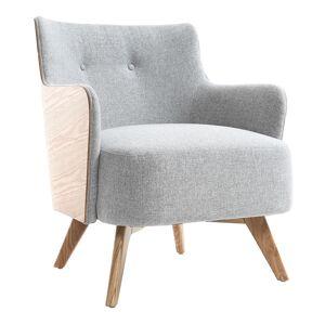 MILIBOO Sillón escandinavo gris perla patas madera VALMY
