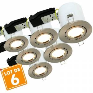 ECLAIRAGE DESIGN Lote de 6 puntos de acero cepillado orientable BBC RT2012 + Bombillas