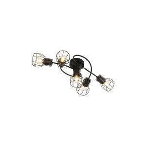 QAZQA Diseño Plafón moderno negro 59cm 5-luces - BOTU Acero Redonda Adecuado