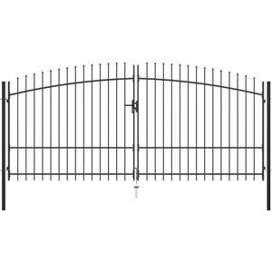 HOMMOO Puerta doble para valla con puntas de lanza 400x225 cm - Hommoo