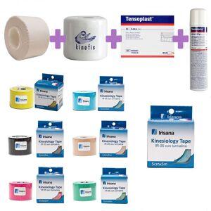 PACK VENDAJE TOTAL IRISANA: Pack 12 Rollos Vendaje Neuromuscular Kinesiology Tape Irisana + 32 Tape Anticrisis + 6 Pretape Kinefis + Tensospray + 12 Tensoplast
