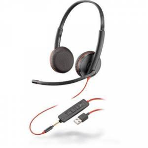 Plantronics Blackwire C3225 USB A Corded UC Headset w/ Noise Canceling Microphone (209747-101) headset for zoom meetings