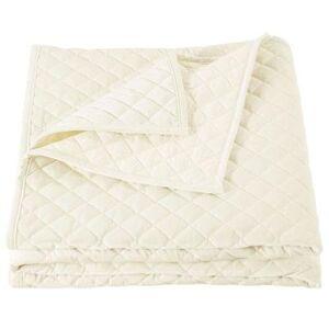 Hiend Accents Velvet Quilt, Full / Queen, Light Cream