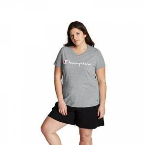 Champion Plus Size Women& 39;s Jersey V-Neck Tee Graphic-Classic Script by Champion in Oxford Gray (Size 3X)