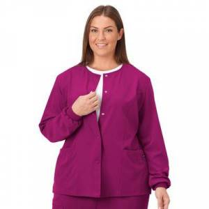 Jockey Encompass Scrubs Plus Size Women& 39;s Jockey Scrubs Women& 39;s Snap to it Warm-Up Jacket by Jockey Encompass Scrubs in Plum Berry (Size 2X)