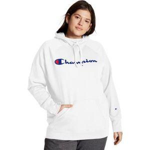 Champion Plus Size Women& 39;s Champion Women& 39;s Plus Powerblend Fleece Hoodie, Script Logo by Champion in White (Size 1X)